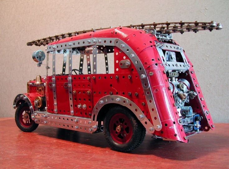 Merryweather Limousine fire engine in Meccano - rear