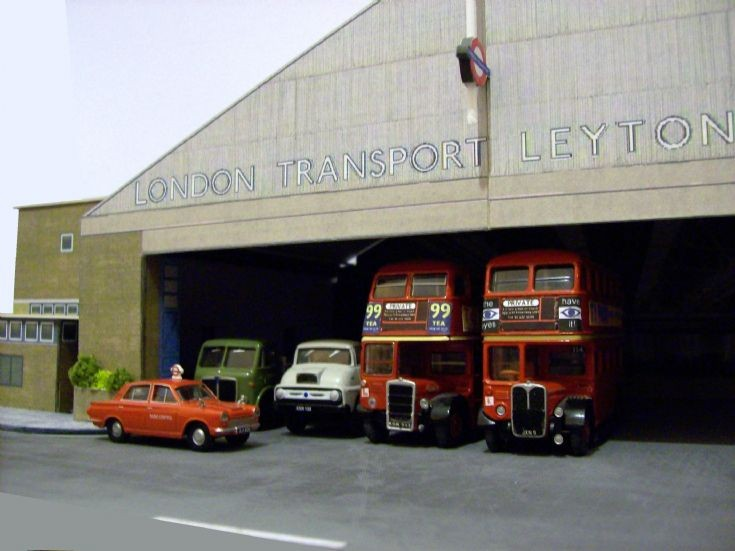 Photo of Leyton bus garage in 1/76 scale